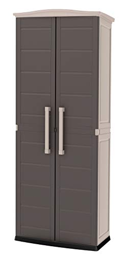 Keter Boston Resin Tall Outdoor Storage Shed Cabinet for Patio, Tool or Garage Organization, Beige/Brown