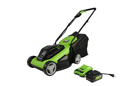 Greenworks 24V 13-Inch Cordless (2-In-1) Push Lawn Mower, 4.0Ah USB Battery (USB Hub) and Charger Included MO24B410