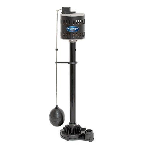 Superior Pump 92333 1/3 HP Thermoplastic Pedestal Sump Pump, Black