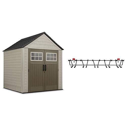 Rubbermaid 7 x 7 Feet Weather Resistant Resin Outdoor Storage Shed + 34 Inch Garden Tool & Sports Storage Rack for Sheds