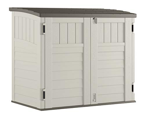Suncast Horizontal Outdoor Storage Shed for Backyards and Patios 34 Cubic Feet Capacity for Garbage Cans, Tools and Garden Accessories,...