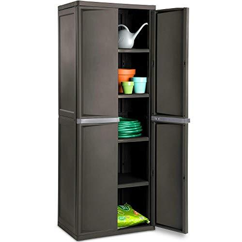 BS Lockable Storage Cabinet Outdoor 4 Shelf Organizer Yard Garden Garages Pantry Dorm Room Kitchen Adjustable Shelves 2 Doors Accent...