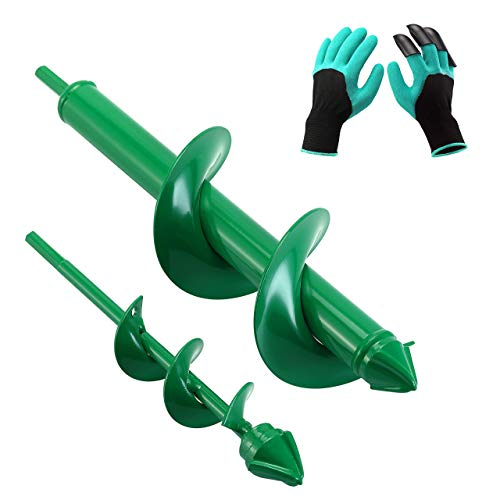 VUDECO Auger Drill Bit 2 PCS Set with Garden Genie Gloves for Planting Hole Drill Planter Auger Spiral Hole Drill Bit Bulb Bedding...
