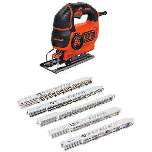 BLACK+DECKER BDEJS600C 5.0-Amp Jig Saw with 75-626 Assorted Jigsaw Blades Set, Wood and Metal, 24-Pack