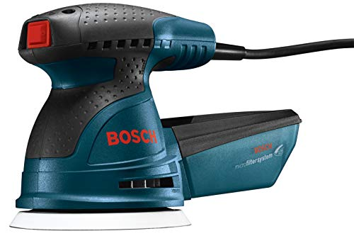 Bosch ROS20VSC Palm Sander - 2.5 Amp 5 in. Corded Variable Speed Random Orbital Sander/Polisher Kit with Dust Collector and Soft...