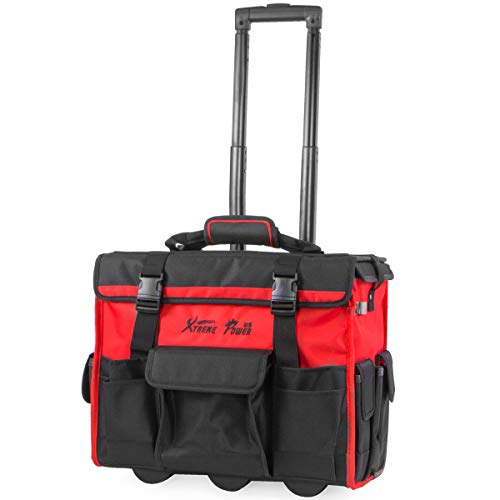XtremepowerUS Rolling Tool Bag with Wheels Organizer Telescoping Handle 18' Wide Storage Organizer Bag Tool Box with Wheels