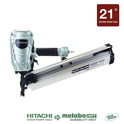Hitachi NR90AES1 Framing Nailer, 2-Inch to 3-1/2-Inch Plastic Collated Full Head Nails, 21 Degree Pneumatic, Selective Actuation...