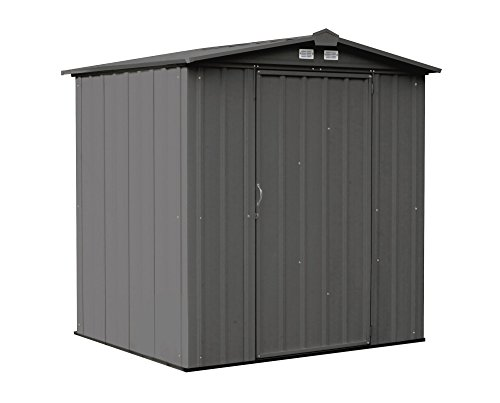 Arrow 6' x 5' EZEE Shed Charcoal Low Gable Steel Storage Shed with Peak Style Roof