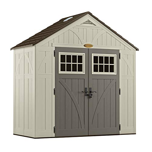 Suncast 4' x 8' Tremont Storage Shed with Windows - Natural Wood-Like Outdoor Storage for Power Equipment and Yard Tools - All-Weather...