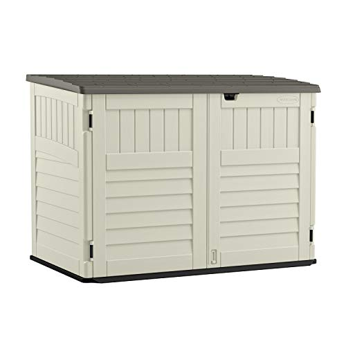 Suncast 5' x 3' Horizontal Stow-Away Storage Shed - Natural Wood-like Outdoor Storage for Trash Cans and Yard Tools - All-Weather...