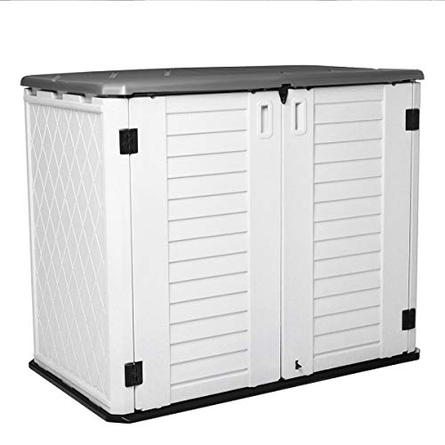 Horizontal Outdoor Garden Storage Shed for Backyards and Patios, Plastic Storage Box Waterproof, Small Shed 26 Cubic Feet Capacity for...
