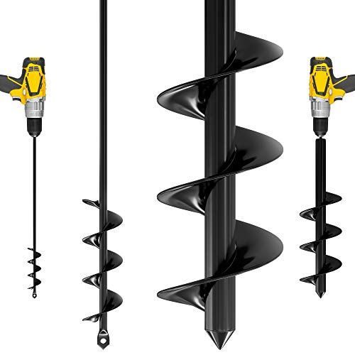 Auger Drill Bit for Planting – 1.6 x 16 and 3.5 x 16 Inch set - Garden Spiral Hole Drill Planter for Bulb Planting, Bedding Plants,...