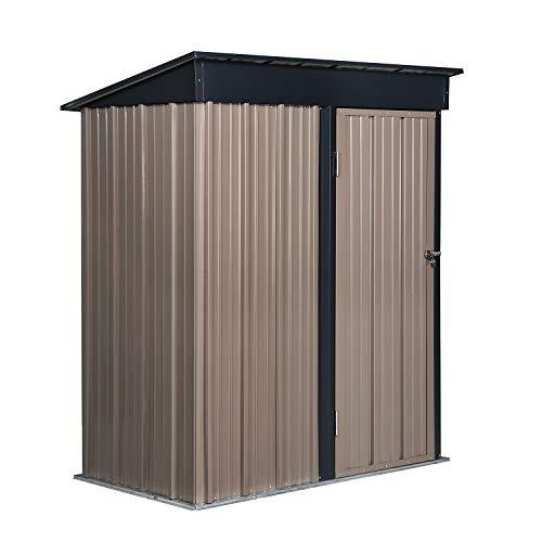 PUPZO Storage Shed Steel Metal with Lock Waterproof Outdoor Backyard Garden House Lawn Tool Brown (5'W x 3'D x6'H)