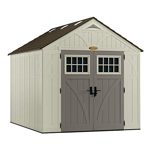 Suncast 8' x 10' Tremont Storage Shed - Outdoor Storage for Backyard Tools and Accessories - All-Weather Resin Material, Transom...