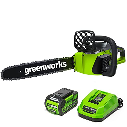 Greenworks 40V 16' Brushless Cordless Chainsaw, 4.0Ah Battery and Charger Included