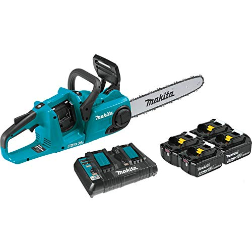 Makita XCU03PT1 18V X2 (36V) LXT Lithium-Ion Brushless Cordless 14' Chain Saw Kit with, 4 Batteries (5.0Ah) , Blue
