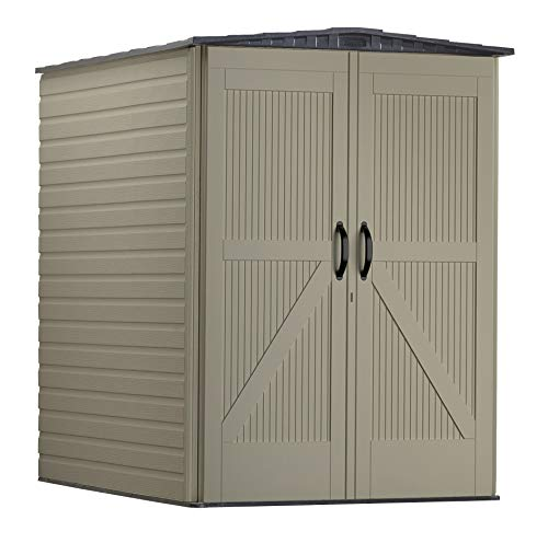 Rubbermaid Roughneck Storage Shed, 5x6, Faint Maple and Brown