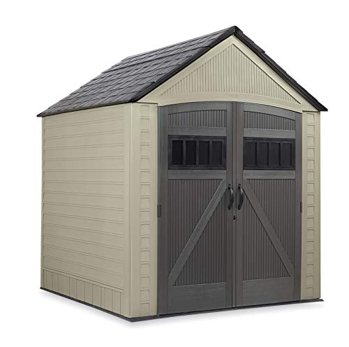 Rubbermaid Roughneck Storage Shed, 7x7, Faint Maple and Brown