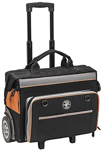Klein Tools 55452RTB Tool Bag, Water Resistant Tool Storage Organizer Rolls on Rugged 6-Inch Wheels, 24 Pockets, Load Tested to...