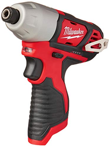 Milwaukee 2462-20 M12 1/4 Inch Hex Shank 12 Volt Lithium Ion Cordless 2,500 RPM 1,000 Inch Pounds Impact Driver w/ LED Light and Fuel...