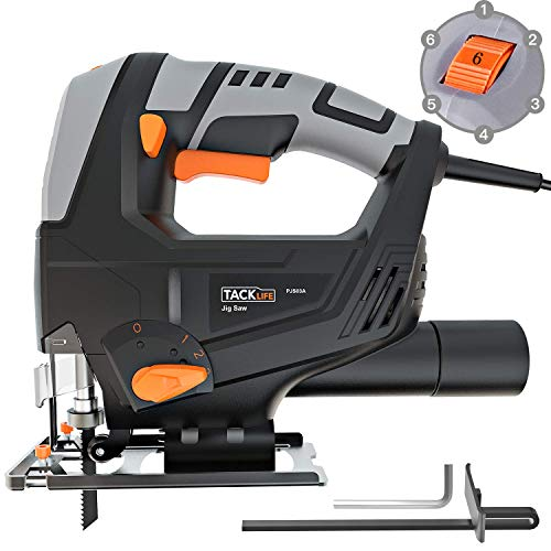 TACKLIFE Classic 5.0 Amp 3000SPM Jigsaw, Variable Speed, Tool-free Blade Changing, Lightweight Design, 10 Feet Cord, Pure Copper Motor...