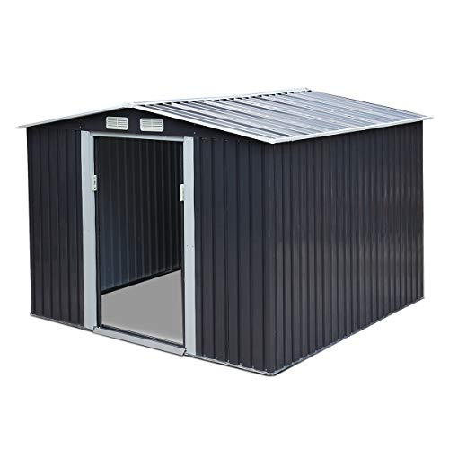 JAXPETY 8' x 8' Outdoor Gable Steel Storage Shed, Lawn Mower Equipment House with Lockable Sliding Door, Large Tool Organizer for...