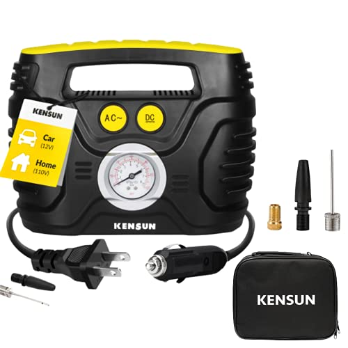 Kensun Portable Air Compressor Pump for Car 12V DC and Home 110V AC Swift Performance Tire Inflator 100 PSI for Car - Bicycle -...