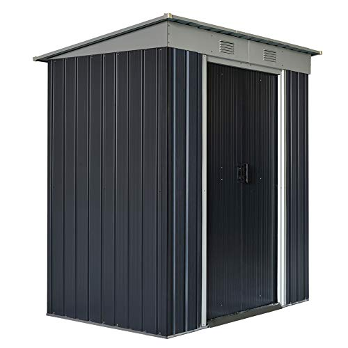 Outsunny 6' x 4' Backyard Garden Tool Storage Shed with Lockable Door, 2 Air Vents & Steel Construction