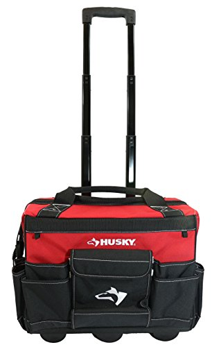 Husky GP-43196N13 18' 600-Denier Red Water Resistant Contractor's Rolling Tool Tote Bag with Telescoping Handle