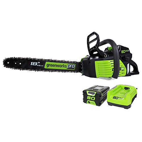 Greenworks PRO 18-Inch 80V Cordless Chainsaw, 2.0 AH Battery and Charger Included GCS80420