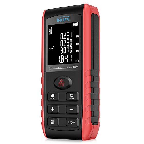 Digital Laser Distance Meter 197FT/ 60M,InLife Backlit LCD Laser Measure, Laser Measuring Device with Single-distance, Continuous,...