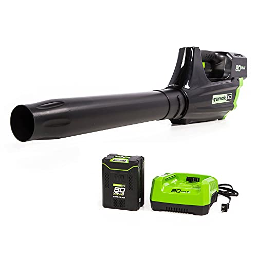 Greenworks Pro 80V (125 MPH / 500 CFM) Cordless Axial Leaf Blower, 2.0Ah Battery and Charger Included GBL80300