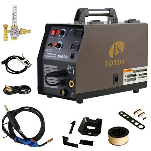 LOTOS MIG140 140 Amp MIG Wire Welder, Flux Core & Aluminum Gas Shielded Welding with 2T/4T Switch Argon Regulator, Metal Wire Feeder,...