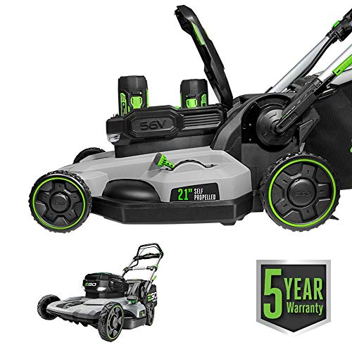 EGO Power+ LM2142SP 21-Inch 56-Volt Lithium-Ion Cordless Electric Dual-Port Walk Behind Self Propelled Lawn Mower with Two 5.0 Ah...