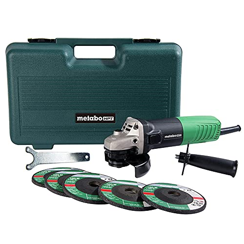 Metabo HPT Angle Grinder | 4-1/2-Inch | Includes 5 Grinding Wheels & Hard Case | 6.2-Amp Motor | Compact & Lightweight | G12SR4