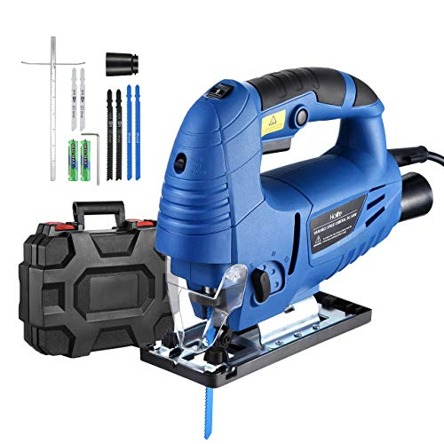 Holife Jigsaw, 6.5Amp 3000SPM Jig saw with Laser Guide, LED Light, Variable Speed, Accessories including 6PCS Jigsaw Blades, Guider...
