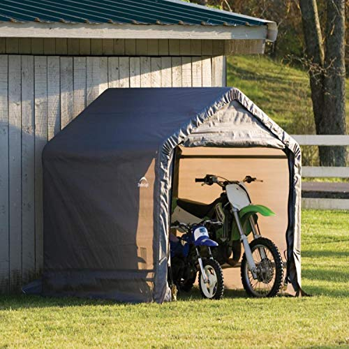 ShelterLogic 6' x 6' Shed-in-a-Box All Season Steel Metal Peak Roof Outdoor Storage Shed with Waterproof Cover and Heavy Duty Reusable...
