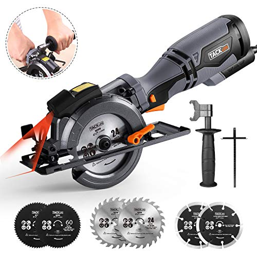 "TACKLIFE Circular Saw with Metal Handle, 6 Blades(4-3/4' & 4-1/2""), Laser Guide, 5.8A, Max Cutting Depth 1-11/16'' (90°), 1-3/8''..."