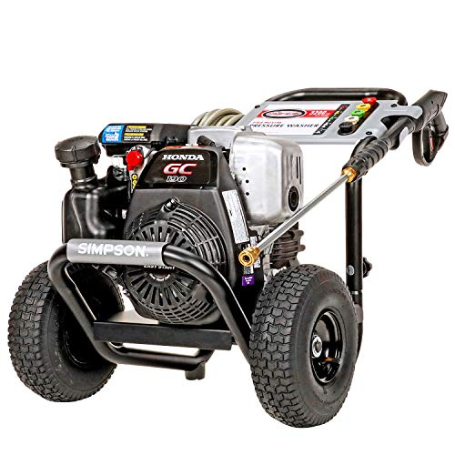 Simpson Cleaning MSH3125 MegaShot Gas Pressure Washer Powered by Honda GC190, 3200 PSI at 2.5 GPM, (49 State), black