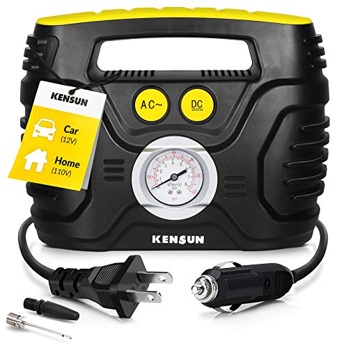 Kensun AC/DC Tire Inflator Portable Air Compressor Pump for Car 12V DC and Home 110V AC Swift Performance Inflator for Car, Bicycle,...