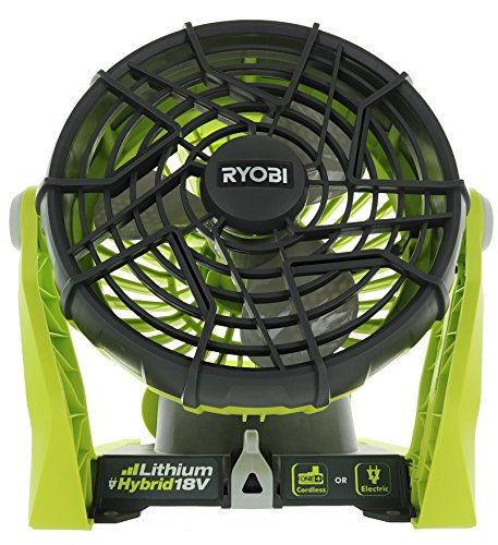 Ryobi P3320 18 Volt Hybrid One+ Battery or AC Powered Adjustable Indoor / Outdoor Shop Fan (Battery and Extension Cord Not Included /...