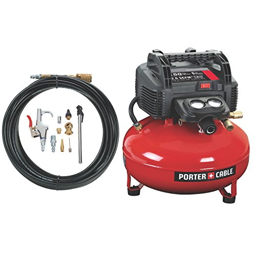 PORTER-CABLE Compressor, Oil-Free, UMC Pancake, 13-Piece Accessory Kit, 6-Gallon, 150 PSI (C2002-WK)