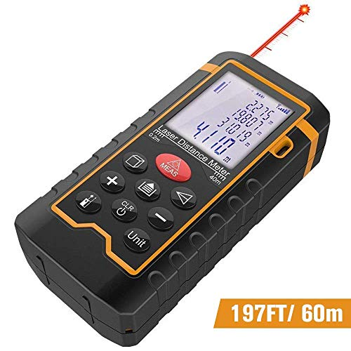 DBPOWER Digital Laser Measure 197FT/ 60M, Laser Distance Meter with Backlit LCD Screen, Single-distance Measurement/Continuous...