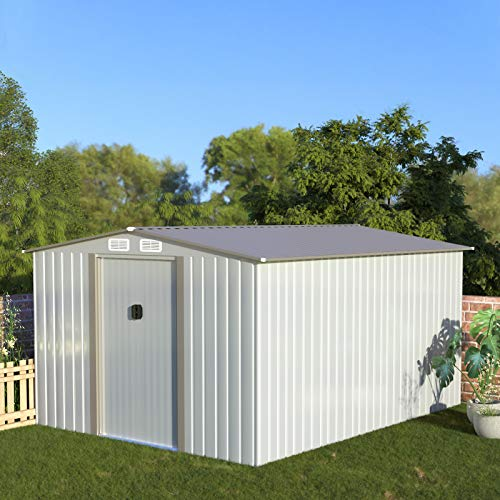 Aoxun Metal Outdoor Garden Storage Shed, 8' x 10'Utility Tool Storage House with Sliding Door, for Backyard Garden Lawn Equipment (with...