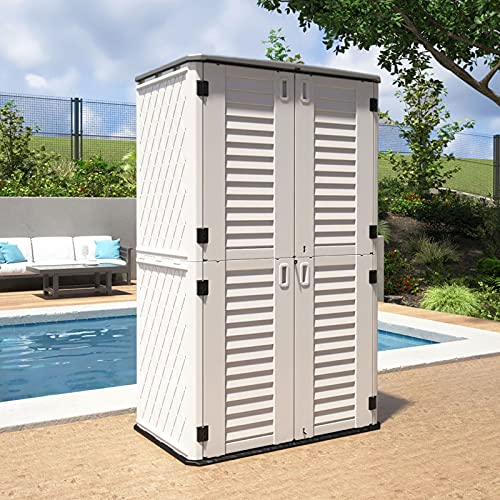 ADDOK Vertical Storage Shed Weather Resistance, Lockable Storage Unit Multi-Function, Durable Outdoor Tool Storage Cabinet for Patio,...
