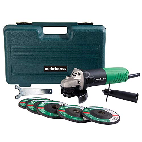 Metabo HPT Angle Grinder, 4-1/2', Includes 5 Grinding Wheels & Hard Case, 6.2-Amp Motor, Compact & Lightweight, 5 Year Warranty, G12SR4