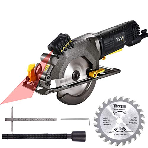 "Circular Saw, TECCPO 4-1/2"" 3500 RPM 4 Amp Compact Circular Saw with Laser Guide, 24T Carbide Tipped Blade, Scale Ruler, Pure Copper..."