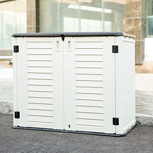 Kinying Horizontal Outdoor Storage Shed for Garden, Patios, Backyards, Multiple Opening Directions Convenient Storage Garbage Cans,...