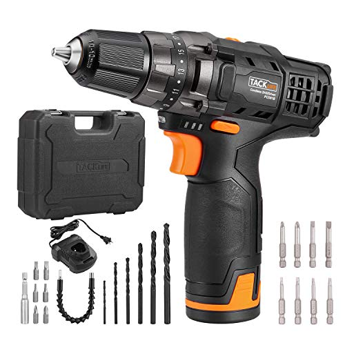 TACKLIFE 12V Cordless Drill Driver,3/8' Metal Chuck,2 Speeds Compact Drill Set with 13pcs Accessories,2000mAh Lithium Battery Pack and...