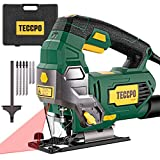 TECCPO 6.5Amp Jigsaw, 3000 SPM Jig saw with Laser, 6 Variable Speed, Tool-free Switching Angle(-45°-45°), 6 Blades, Carrying Case,...